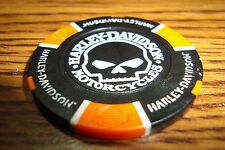 Harley Davidson Poker Chip Skull-Willie G Golf Ball Marker Card Guard Blk/Orange