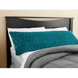 """Mainstays Teal Sachet Bamboo Fur Body Pillow Cover Case Machine Washable 20""""x52"""""""