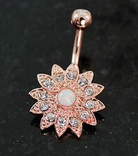 "1 Pc 14K Rose Gold Plated Opal Center CZ Flower Double Gem Belly Ring 14g 3/8"""