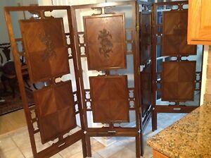Japanese Wood Folding Screen (4 panels )