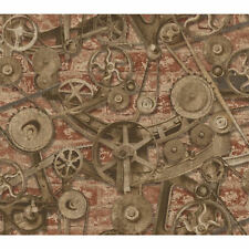 Steampunk Type Gears On Weathered Brick Background Wallpaper by York     MW9210