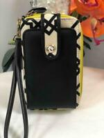 SPARTINA 449 Gracie Seven Oaks Black/ Ivory Canvas & Leather Phone Wallet Clutch