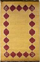 Rugstc 3x5 Senneh Gabbeh Gold Area Rug,Vegetable dye, Hand-Knotted,Wool Pile