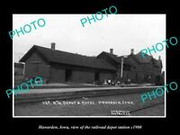 OLD LARGE HISTORIC PHOTO OF HAWARDEN IOWA, THE RAILROAD DEPOT STATION c1900