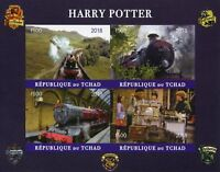 Chad 2018 MNH Harry Potter Hogwarts Express 4v Impf M/S II Trains Movies Stamps