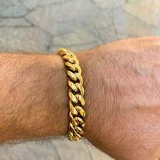 """Men's Thick Curb Cuban Chain Link 8.5"""" Bracelet, 13MM in 18K Yellow Gold Over"""