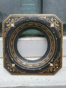 """ANTIQUE 19th c HAND PAINTED SQUARE ROPUND IMAGE SQUARE PHOTO PICTURE FRAME 6"""" SQ"""