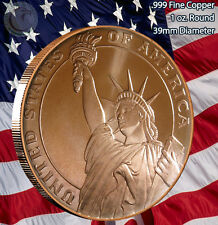 """Statue of Liberty"" body Copper 1oz .999 Fine Copper Beautiful Round"