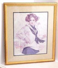 "VGUC J.C. Leyendecker ""Lucky Bag Girl"" Print Gilded Wood Framed Double Matted"