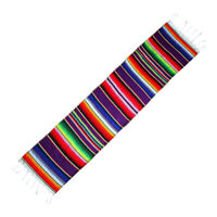 14 x 84in Mexican Table Runner Serape Blanket Fringe Cotton Festival Party Decor