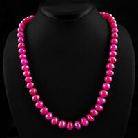 TOP QUALITY 406.15 CTS EARTH MINED RICH RED RUBY ROUND BEADS NECKLACE STRAND