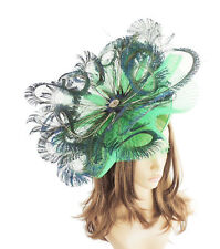 Peacock Green Fascinator  Hat for Weddings, Ascot ,Proms With Headband D3