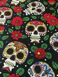 SUGAR SKULL CANDY ROSES 100% COTTON  FABRIC MATERIAL CRAFT DRESS
