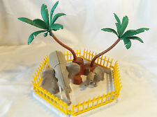 Playmobil 2 Elephants, Mom & Baby w/ Zoo fence, Palm Tree, Ark or Safari Animals