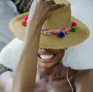 Eric Javits Corfu Women's Hat Colored Pom-Poms Fedora Hat One Size Natural $295