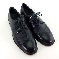 Mens 8 Vintage Florsheim Dress Shoes Black Genuine Leather Oxford Wingtips