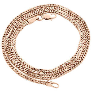 Real 10K Rose Gold 3D Hollow Franco Box Link Chain 2mm Necklace 18 - 26 Inches