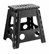 Large Step Stool Plastic Home Kitchen Multi Purpose Foldable Easy Storage Black