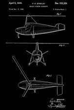 1949 - Autogiro Rotary Winged Aircraft - P. H. Stanley - Patent Art Poster