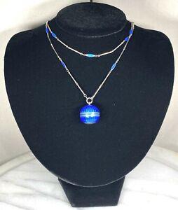 Antique Bucherer Swiss Blue Guilloche Enamel Pendant Watch Chain Sterling Silver
