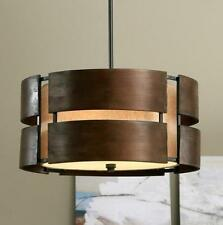 Curved Wood 3 Light Walnut Chandelier Pendant Modern Mid Century Fixture Rustic