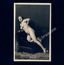 Chubby Nude Woman lolling on Chair Cosy Naked Nude * Vintage 20s Photo PC