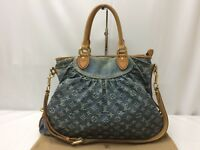 Auth Louis Vuitton Monogram Denim Neo Cabby MM 2 Way hand bag M95349  9A090070n""
