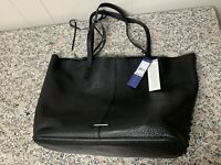 Rebecca Minkoff Medium Unlined Black Leather Tote with removable Pouch NEW NWT