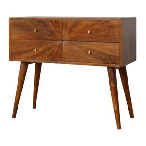 Unusual Quirky Patterned Wood Retro Style Console Table Hallway Sideboard Unit