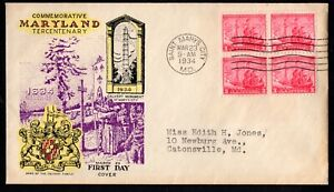 1934 US #736 Maryland Tercentenary Block of 4 on Cacheted Addressed FDC