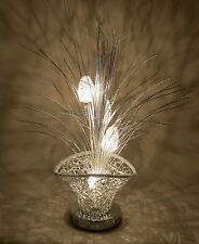 Celebration Silver Woven Wire Metal Basket Table Desk LED Lamp Glittered Grass