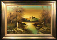 """Original Phillip Cantrell Oil Painting on Canvass Landscape Sunset Mountains 41"""""""
