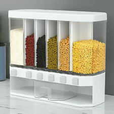 New listing Waqia Wall Mounted Food Dispenser,Whole Grains Rice Bucket,Large Capacity 6-Grid