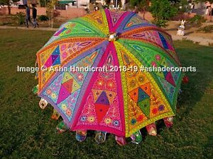 Garden Parasol Handmade Embroidered Indian Outdoor Sun Shade Patio Umbrella 72""