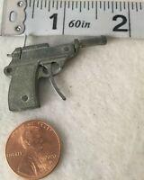 "MINIATURE Sideshow pistol gun 1.6 inch Silver Tone Miniature  1 3/4""  Man Cave"