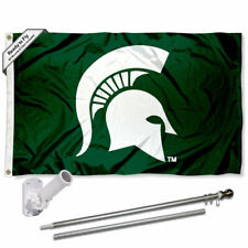 Michigan State Spartans Spartan Head Flag Pole and Bracket Gift Set Package
