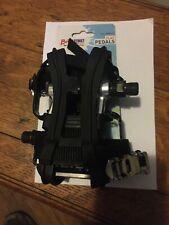 "NEW BikeStreet Metal Combo Pedals/Toe Clip Combo - Aluminum 9/16"" Black Silver"