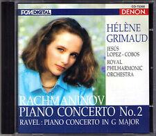 Helene GRIMAUD: RACHMANINOV Piano Concerto No.2 RAVEL DENON Japan CD LOPEZ-COCOS