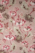 Antique French Art Nouveau pink printed cotton cretonne fabric material floral