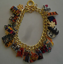 BEATLES BRACELET MUSIC CHARMS BAND STAR PAUL BEADS  GOLD TONE CHAIN