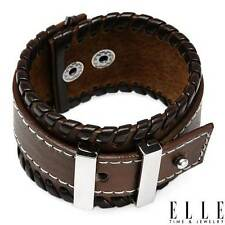 ELLE Charming Bracelet in Metallic Base metal and Two tone Leather