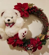 "Christmas Holiday Wreath  24"" Decoration Plush Teddy Bear Red Poinsettia Branch"