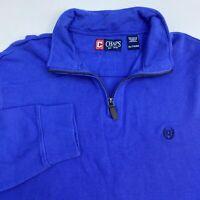 Chaps Quarter Zip Sweater Men's 2XL XXL Long Sleeve Blue Logo Embroidered Casual