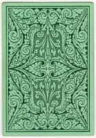 Playing Cards 1 Single Card Old Antique DLR Wide Square Corner GREEN PLANT LEAF