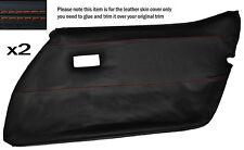 ORANGE STITCH 2X FRONT FULL DOOR CARD LEATHER SKIN COVER FITS CORVETTE C3 78-82