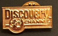 Vintage The Discovery Channel Television Gold Tone Lapel Pin