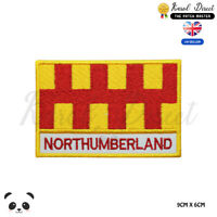 NORTHUMBERLAND England County Flag With Name Embroidered Iron On Sew On Patch
