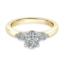 2.50 Ct Oval Diamond Engagement Stylish Wedding Rings 14K Yellow Gold Size M N