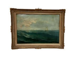 Grande quadro mare con barca - dipinto olio su compensato  primi 900 Pascolini F