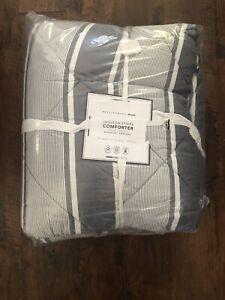 NWT Pottery Barn Teen Dorm Navy Blue Jackson Stripe Full Queen Comforter